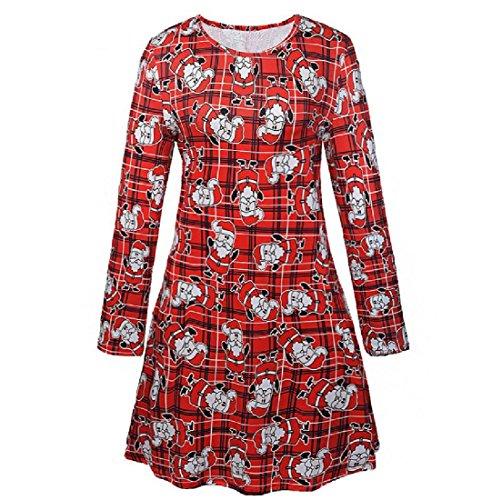 Women's Mid Print Skinny Dress Christmas Round Comfy Length Pattern1 Party Neck dwxgqBBZ