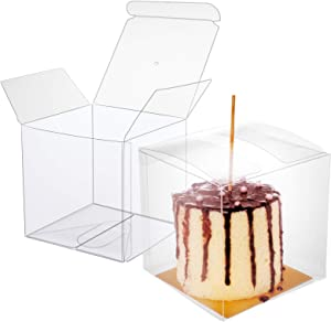 "30 Pcs Candy Apple Box with Hole Top, Clear Gift Boxes, 4""x4""x4"" DIY Plastic Boxes for Caramel Apples, Ornament Box for Wedding, Birthday, Party"