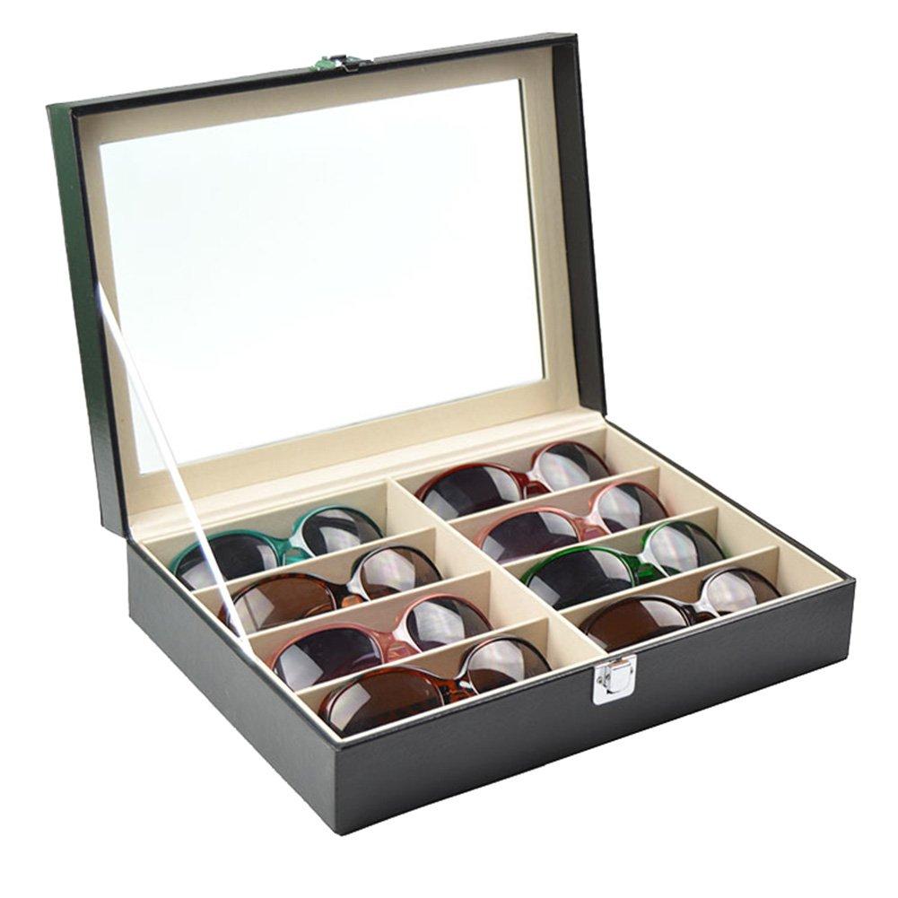 Frjjthchy 8 Slots Leather Eyeglass Sunglass Glasses Case Lockable Clear Window Jewelry Display Case