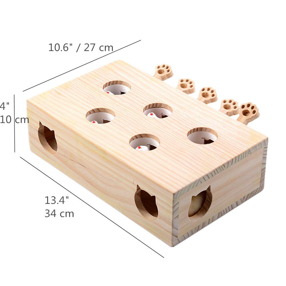 Jnwayb Cat Interactive Toys, Whack a Mole Mouse Exercise Toy, Solid Wood Puzzle Box with Mice (Style C) by Jnwayb