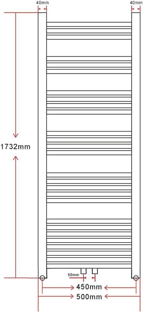 vidaXL Radiateur S/èche-Serviettes Vertical Porte-serviette Chauffe-serviette 600x1160mm