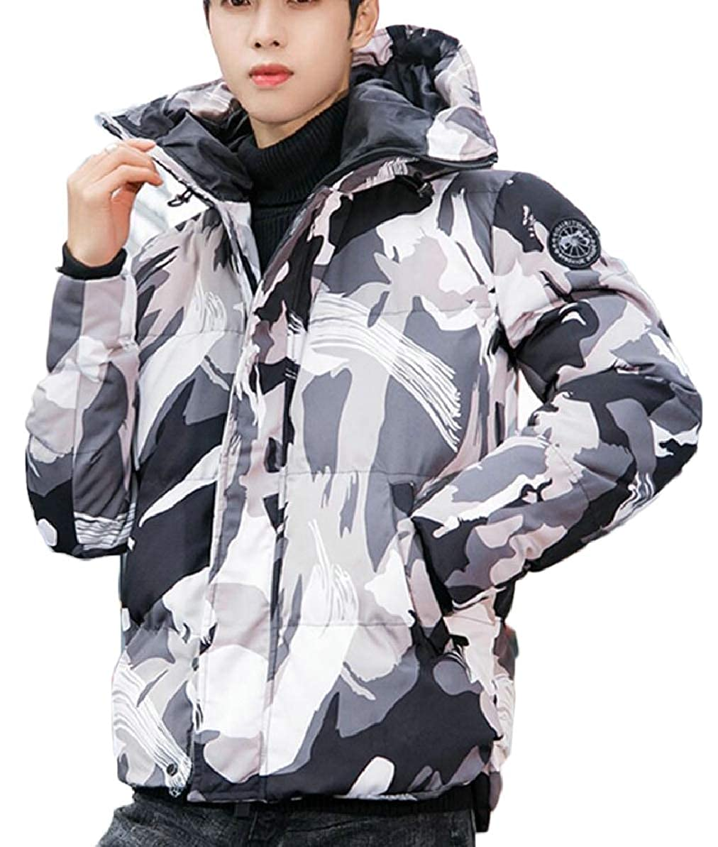 FLCH+YIGE Mens Warm Zipper Hooded Padded Hipster Camouflage Thicken Down Jacket Coat