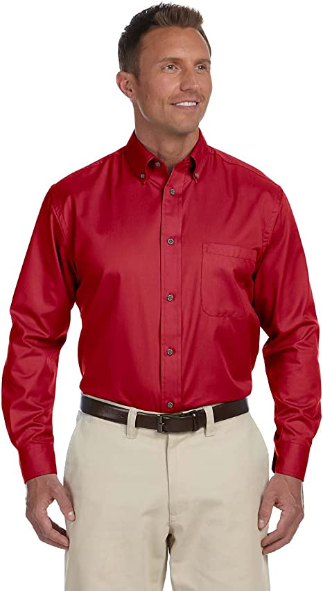 Harriton Mens Easy Blend Long-Sleeve Twill Shirt with Stain-Release 5XL WHITE