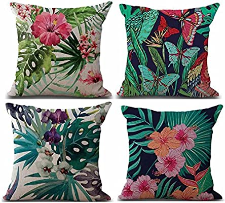 Fossrn Fundas Cojines 45x45, Tropical Geometría Animal Fox Funda de Cojines para Sofa Modernos Jardin Cama Decorativo (Tropical): Amazon.es: Hogar