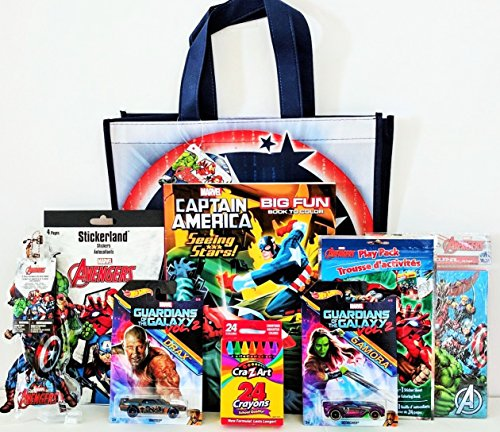 [Marvel Avengers & Guardians Of The Galaxy Coloring & Activity Gift Set with Reusable Tote Bag, Hot Wheels & Much More!] (Captain America Movie Treat Bag)