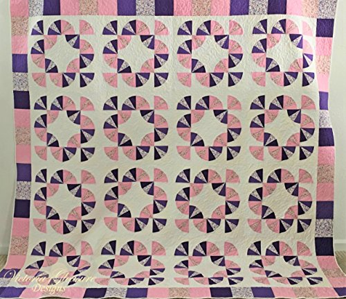 Pink and Purple Spring Fan Quilt With Two Matching Pillows