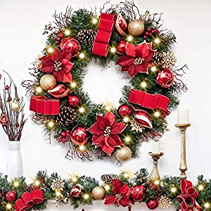 Valery Madelyn Pre-Lit Christmas Wreath for Front Door with Ball Ornaments, Berries, Pine Cones, Tartan Ribbons and Flowers, Battery Operated 20 LED Lights (30in Red Gold)