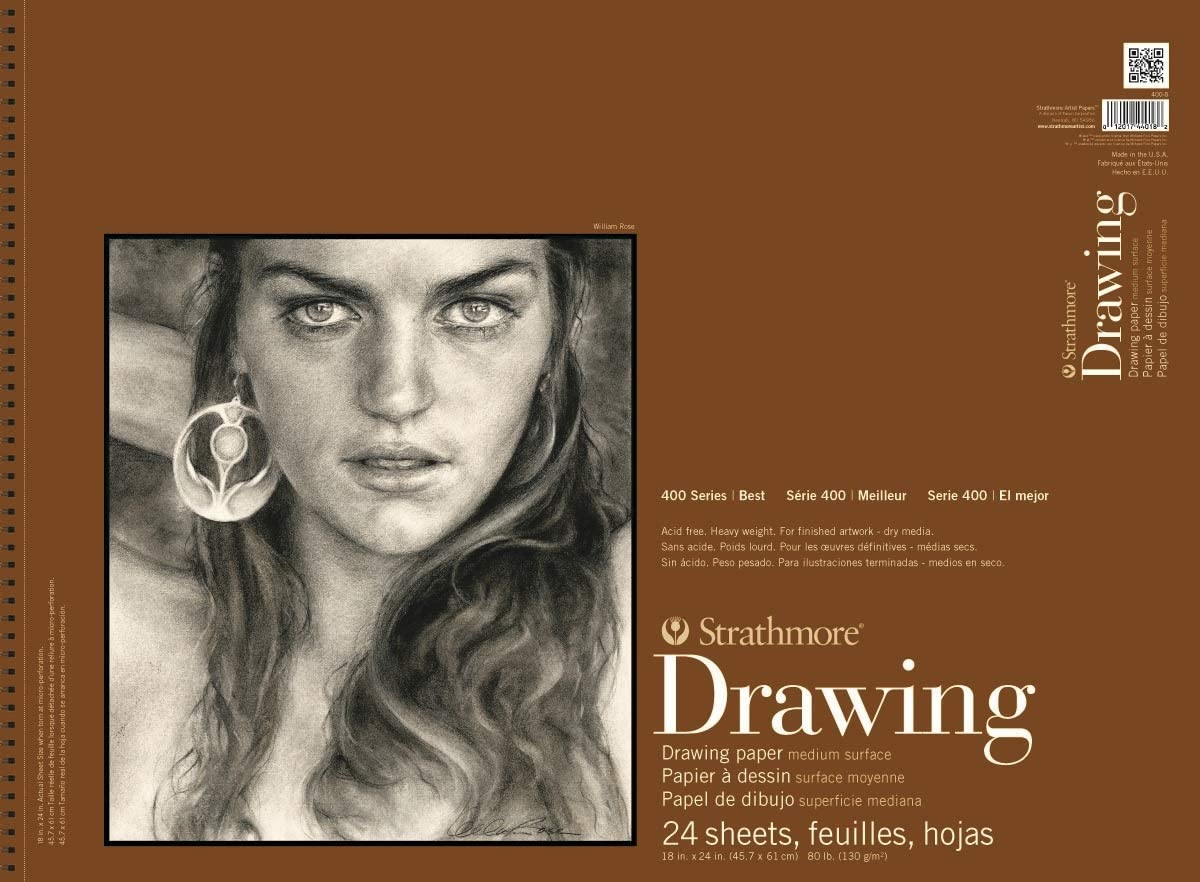 Strathmore 400 Series Drawing Pad 24 Sheets 80 lb 18 x 24 Inches