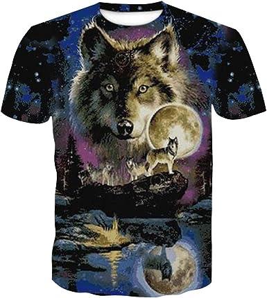 Camiseta de Verano 3D, Camisa con Estampado de Lobo ...