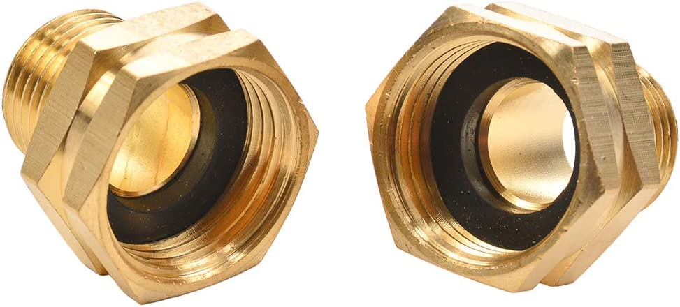 "REGNHLIF 2 Pack 3/4"" GHT Female to 1/2"" NPT Male Connector, Brass Garden Hose Fitting, Male Hose Adapter"