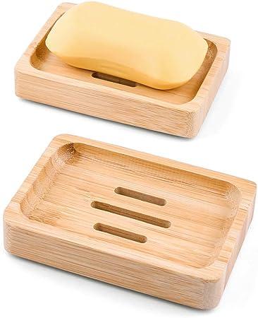 2 Stück Seifenschale Seifenablage Seifenhalter Seife Natürlicher Holz Schale Neu