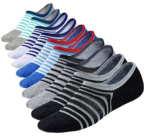 M Z Mens No Show Low Cut Ultimate Casual Cotton Anti Slip Socks 5 6Pack