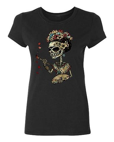P&B Women's T-Shirt Day of the Dead Artist Singer Sugar Skull