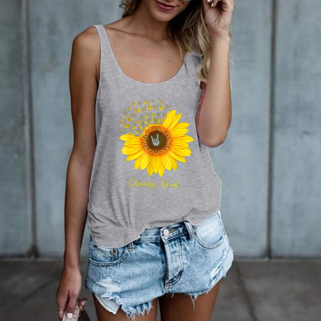 Comfortable Sweet Simple Sport Vest Tank Top Yoga Woman Sunflower Print Tops Sports Racerback Tank Top Elastic T-Shirt Sleeveless Vest for Fitness Gym Toponly