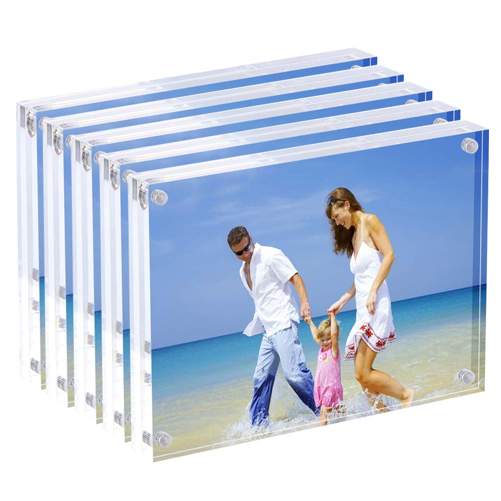 AMEITECH Acrylic Picture Frames, 4x6'' Clear Double Sided Block Set, Desktop Frameless Magnetic Photo Frame (5 Pack) by AMEITECH (Image #1)