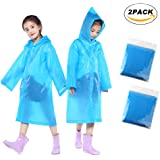 Children Rain Ponchos, 2 Pack Portable Reusable  Raincoats For 6-12 Years Old