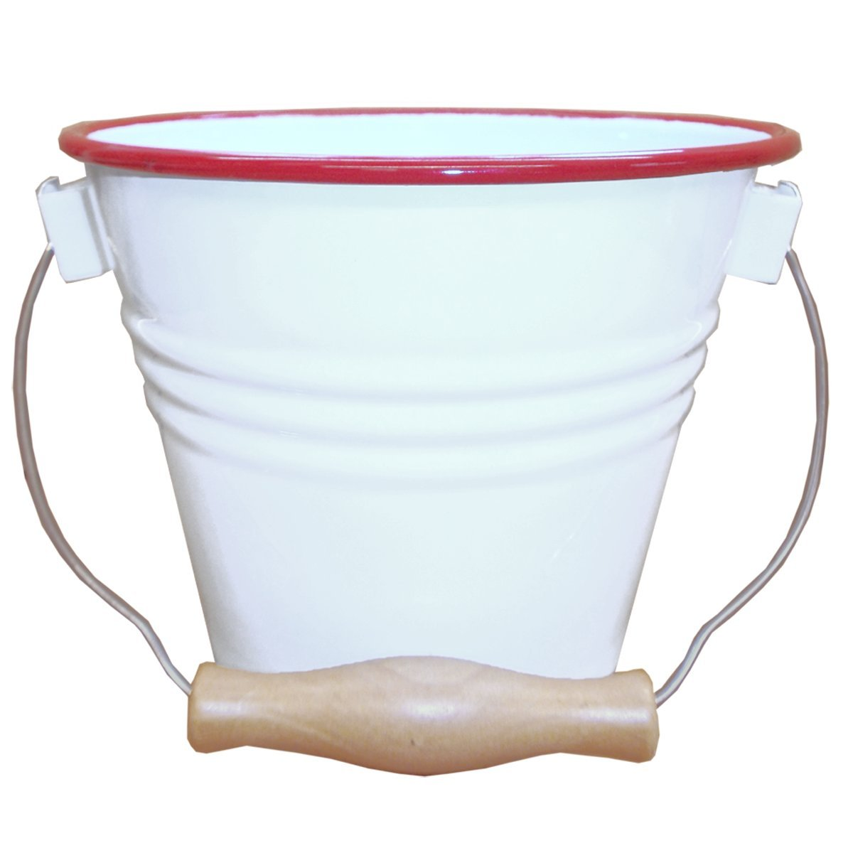 Enamelware Small Pail - Solid White with Red Rim