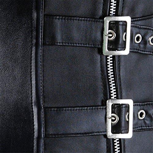 Damen Kunstleder Korsett Corsage Taillen Mieder Corsagentop Dessous Schwarz zipper viYVJ2I8