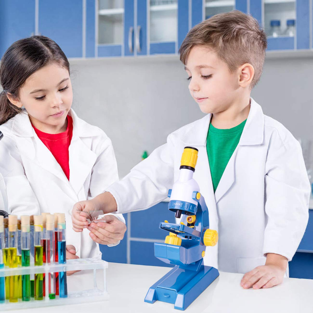 EXERCISE N PLAY Kids Microscope Kit with Slides Childrens Play Microscope