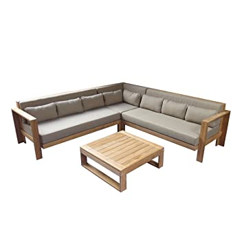 Gartenlounge Triest 3 Tlg Gartenmöbel Teakholz Outdoor Loungemöbel Lounge  Set