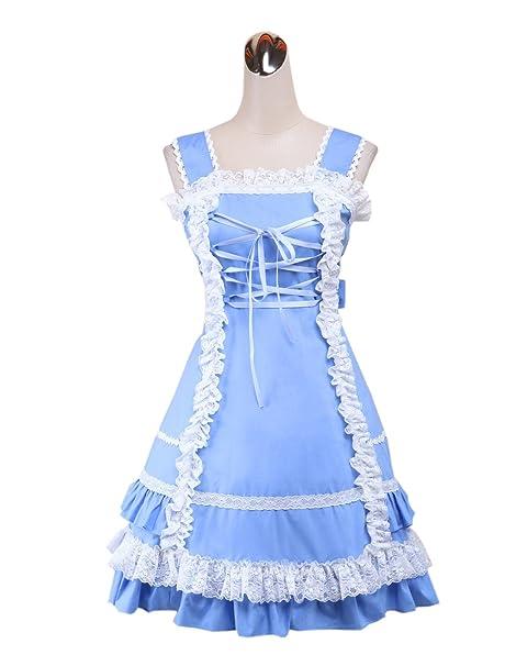 antaina Vestido de coser de lolita dulce Victoriana de algodón con volantes de encaje azul halter