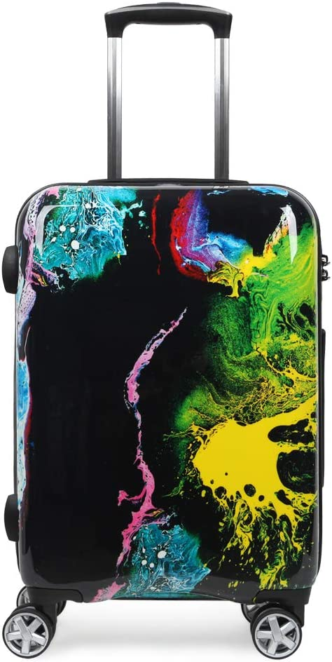 NEWCOM Pattern Luggage 24 Inches Unique Ink Paint Spatter colorful Graffiti Hardside Suitcase Build-In TSA Lock Spinner Wheels for Hip Pop Punk Youth
