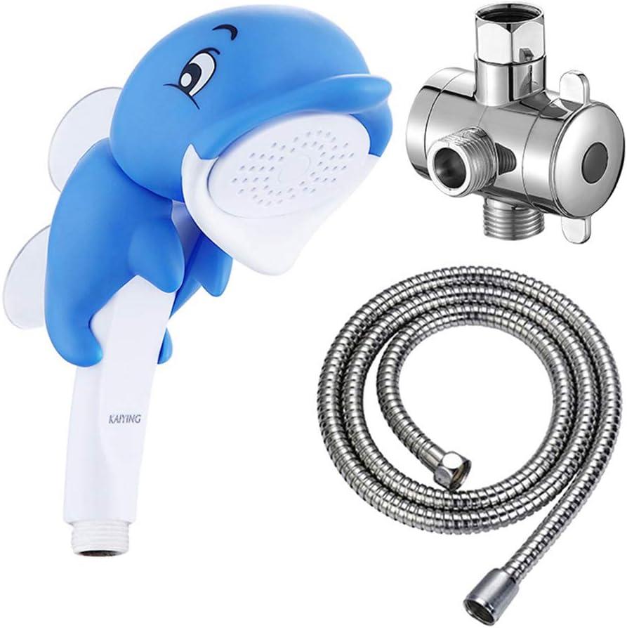 KAIYING Children's Handheld Shower Head,Cartoon Water Flow Spray Shower Head Baby Kids Toddler Bath Play Bathing Toys (O:Showerhead(Dollie)+Hose+Diverter)