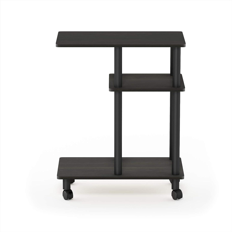Furinno Turn-N-Tube U Shape Sofa Side Table with Casters, Espresso/Black