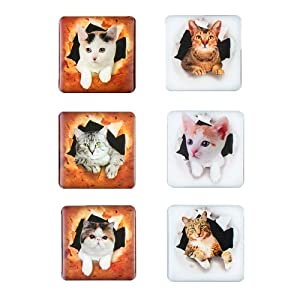 Morcart Refrigerator Magnets Cute Cats Magnets 6-Sets 3D Pattern Square Kids Toys Student Locker Whiteboard Funny Office Microwave Oven