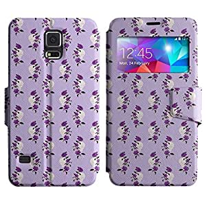 AADes Scratchproof PU Leather Flip Stand Case Samsung Galaxy S5 V SM-G900 ( Violet Rose )