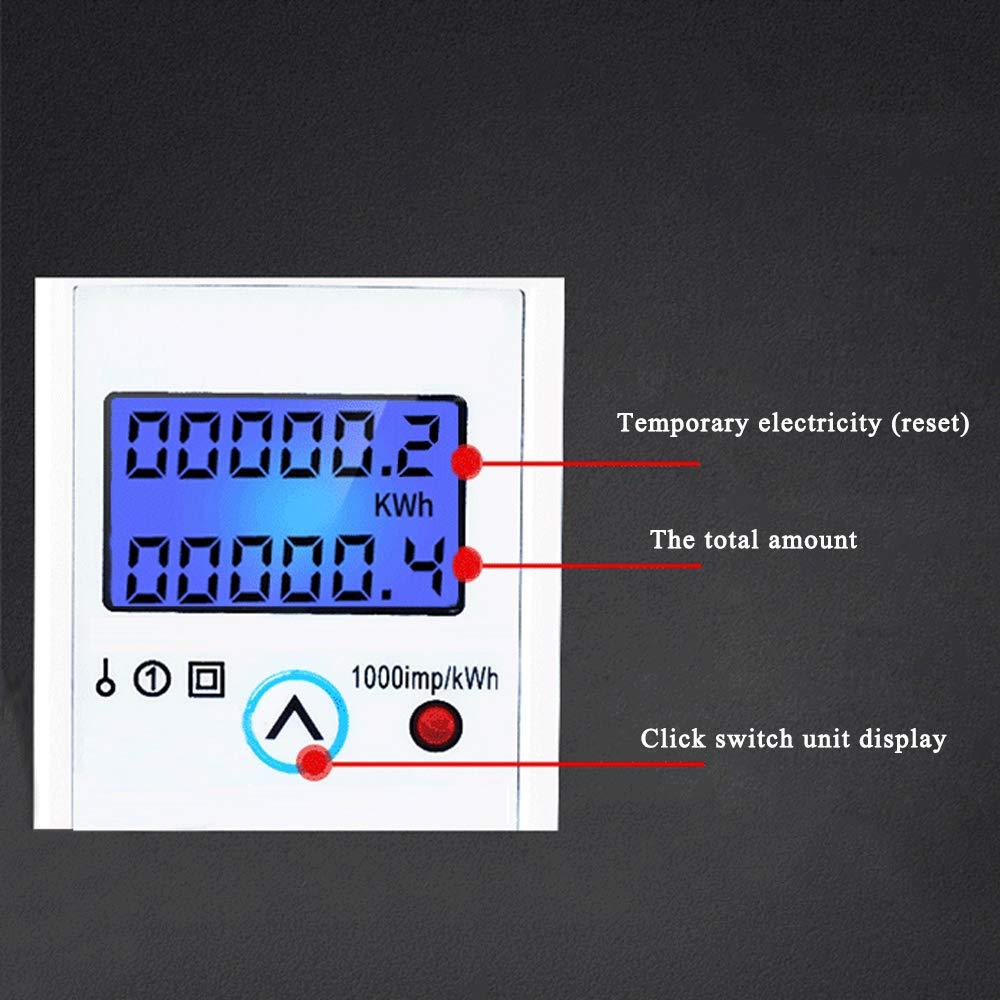40 KKmoon DDM36SC Contatore KWh Elettronico Monofase con Display Digitale a Retroilluminazione LCD 220//230 V 10 A