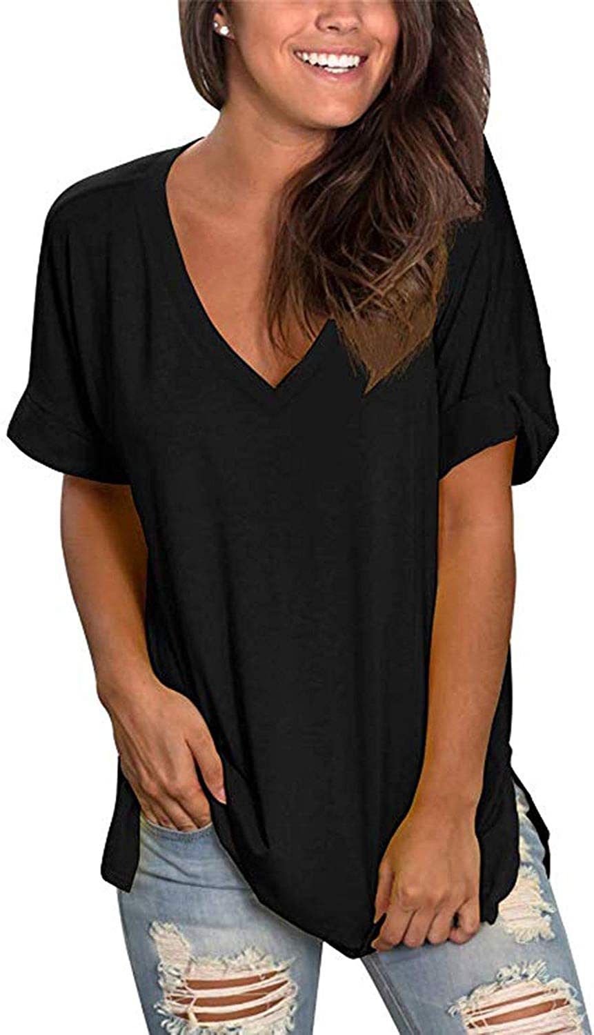 Edjude Womens T Shirts Blouse Ladies Solid Color Button Down V Neck 3//4 Bell Sleeve Casual Office Work Tops Clothes