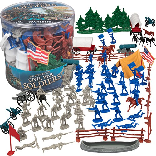 Civil War Army Men Action Figures - Big Bucket of Civil War Soldiers - Over 100 Piece Set
