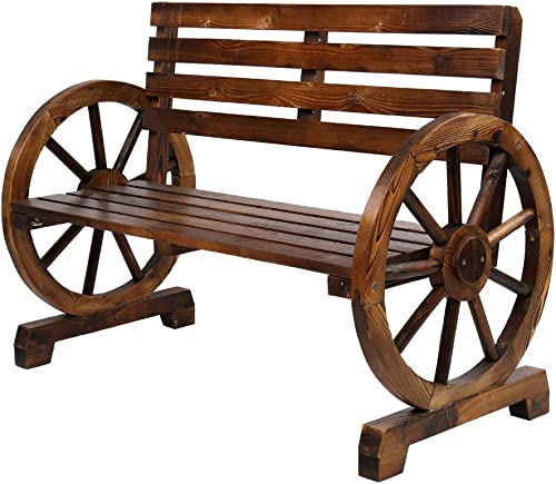 VINGLI Rustic Wooden Wheel Bench