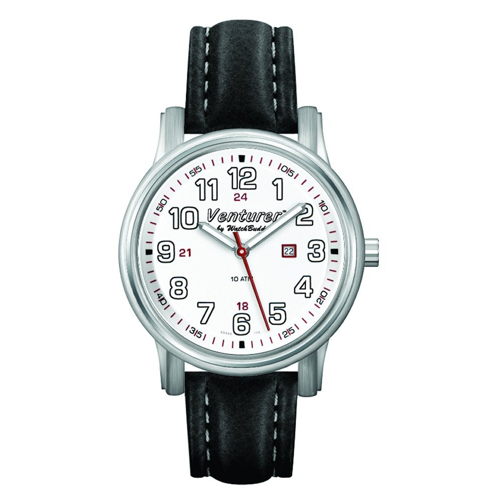 Venturer Sports Watch by WatchBuddy - Polar White Dial with Black Leather Strap - Child's Size