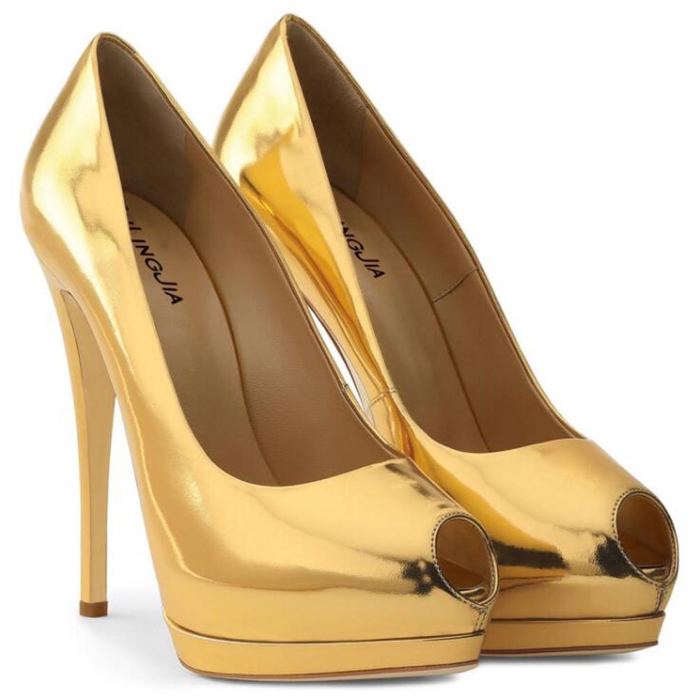 Tacones altos De Las Mujeres a Prueba De agua Plataforma De La Boca De Pescado Espejo De Gran TamañO Peeps Toe Zapatos De Charol 42 EU|Yellow