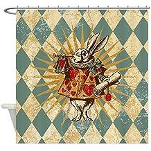 CafePress - Alice White Rabbit Vintage Shower Curtain - Decorative Fabric Shower Curtain