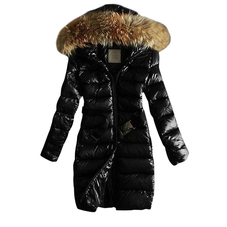 Frauen Pelz-Kragen-Plus Size Slim Fit Lange Glossy Daunenjacke Baumwollmantel Overcoat