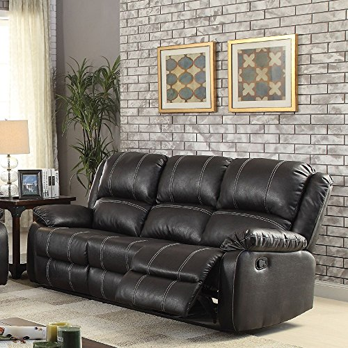 1PerfectChoice Zuriel Black PU Motion Sofa