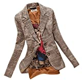 Allbebe Women's Boyfriend Classic Slim Petite Plaid Elbow Patch Jacket Blazer,Brown (XL)