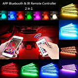 #6: Car LED Strip Lights,BAILONGJU Sync to Music Bluetooth App Controller and Upgraded Remote Two-in-one Control, 4pcs 48 LED Waterproof Multi Color Car Strip Light Under Dash Lighting Kit