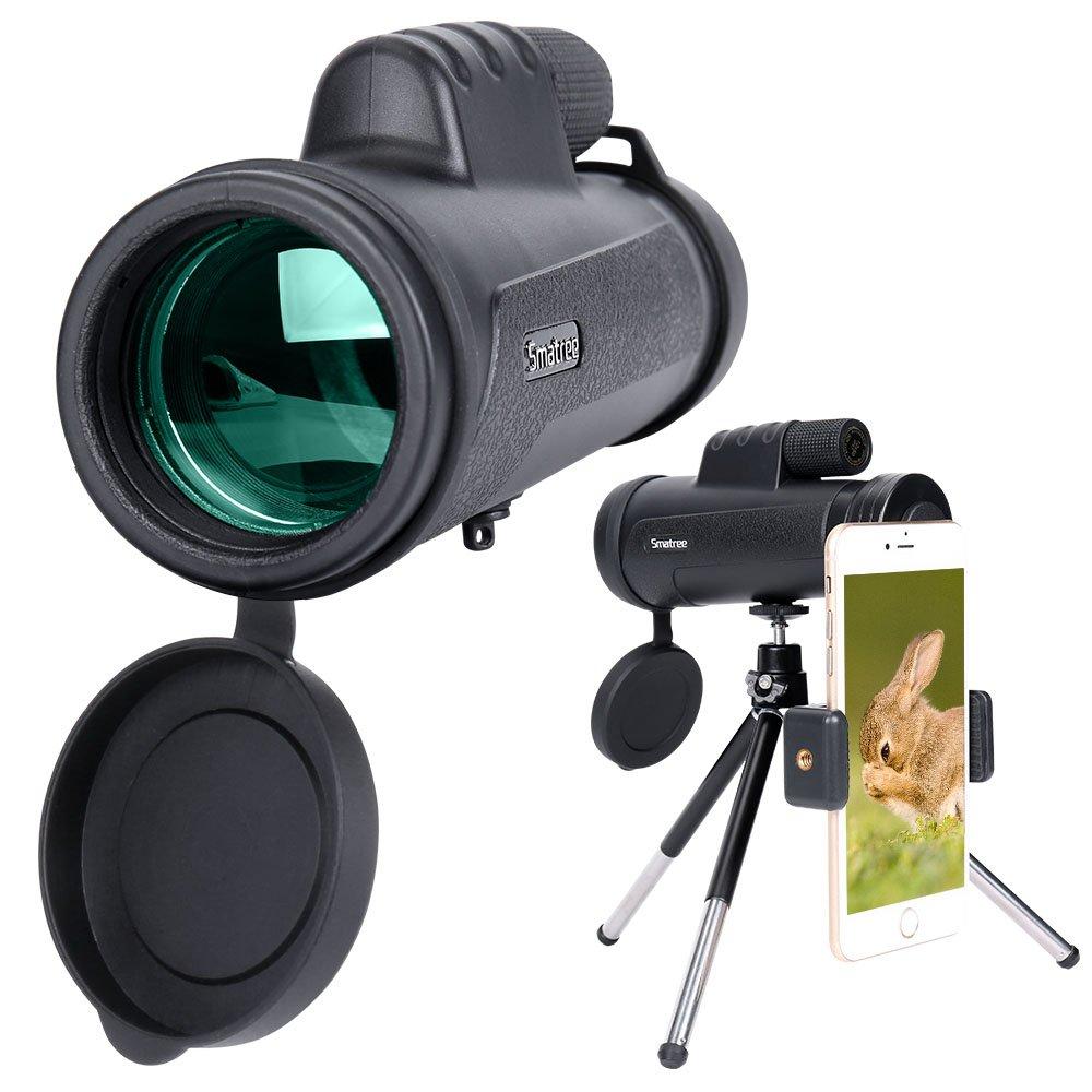 Smatree Telescopio monocular HD de Alta Potencia 12x50 para teléfonos Inteligentes con Soporte para teléfono y trípode Antideslizante para Viajes de Camping