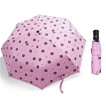 merymall Sombrilla Plegable compacta de Dibujos Animados Parasol para Hombres/Mujeres, Paraguas, Rosa