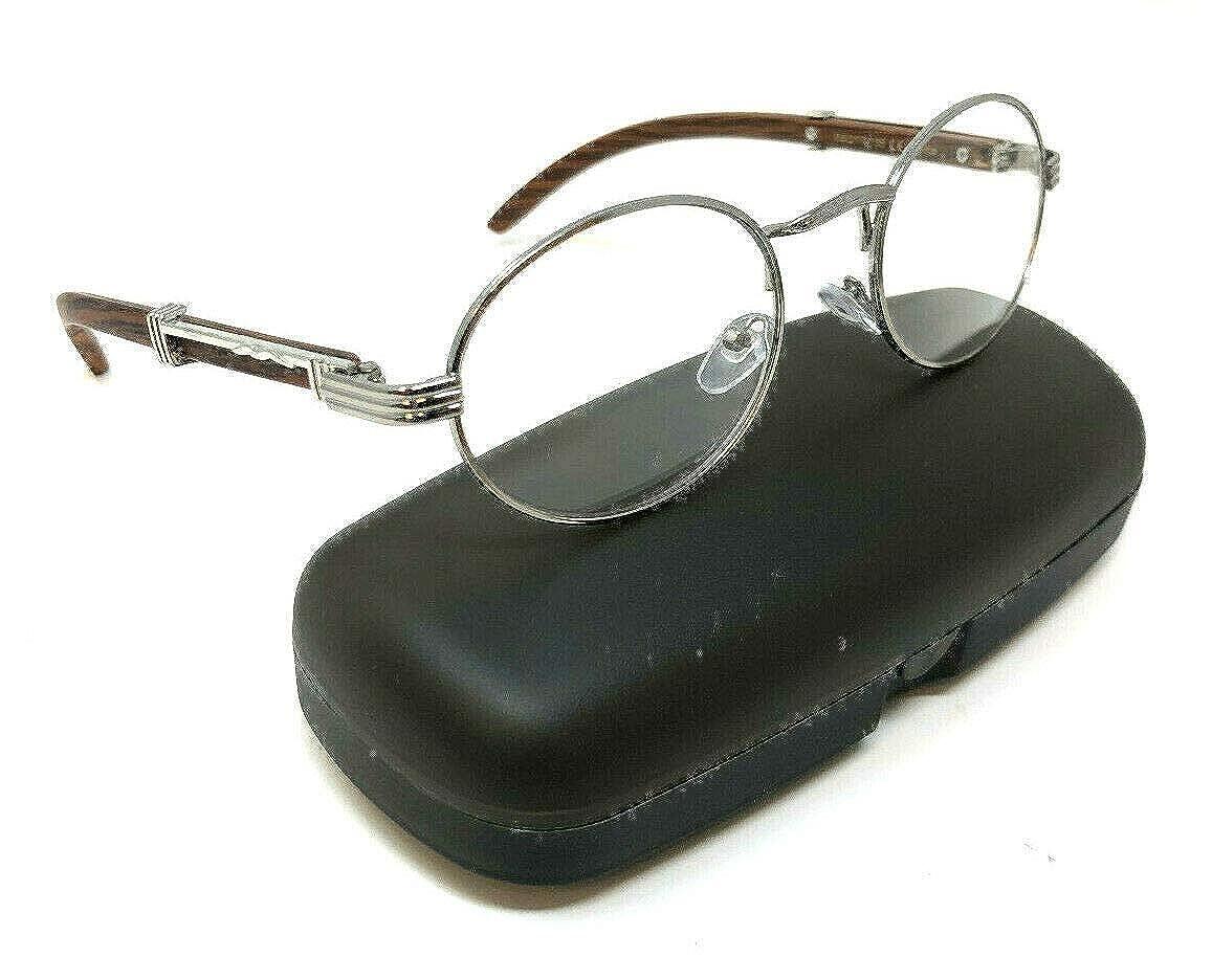 f63c17248ac9 Amazon.com  Scholar Luxury Oval Metal   Wood Eyeglasses Clear Lens  Sunglasses (Silver   Cherry Wood Frame w Case