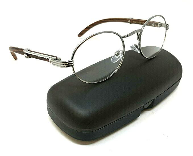 7164718b47e Amazon.com  Scholar Luxury Oval Metal   Wood Eyeglasses Clear Lens  Sunglasses (Silver   Cherry Wood Frame w Case