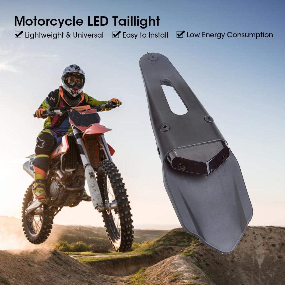 Brake Tail Lights Silver Motorcycle LED Rear Fender License Plate Lights Motorbike Rear Tailligh License Plate LED Light for Dirt Bike