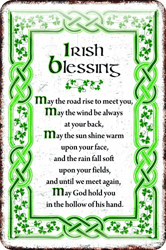(Irish Metal Sign With The May Irish Blessing, White With A Green Celtic Design)