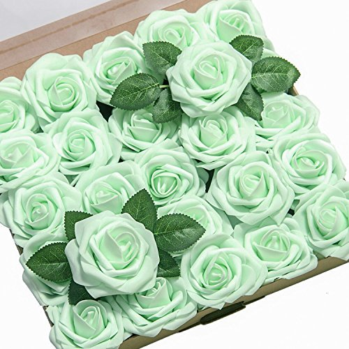 Mint Green Rose - Ling's moment Artificial Flowers 50pcs Mint/Sea Foam Real Looking Artificial Roses for Wedding Bouquets Centerpieces Party Baby Shower Decorations DIY