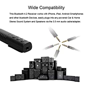 Bluetooth Receiver, Adapter Wireless Aux Receiver 4.1 Bluetooth Hands-Free Car Kit Compatible with iPhone X iPhone 8 8 Plus 7 7plus Headsets Earbuds Car Audio Speaker Mini Home Stereo G-More (Black) (Color: Black)