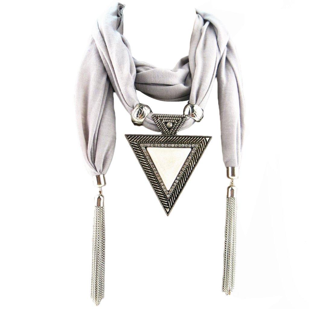 Misciu Women Fashion Bohemian Ethnic Jewelry Tassel Water Drop Pendant Scarf Necklace - Gray